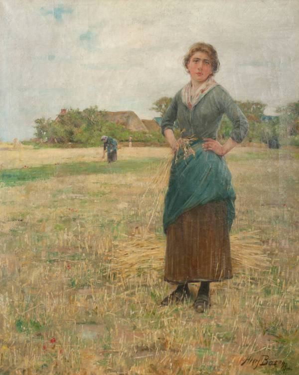 Henry Bacon - Woman In Field Painting 1stdibs