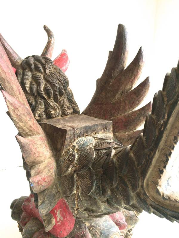 Unknown - Winged Dragon Temple Offering Statue Bali Wood Sculpture 1stdibs