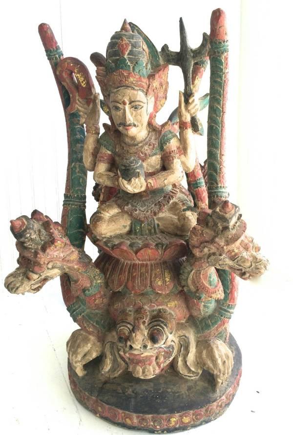 Vintage Bali Wood Dragon Sculpture
