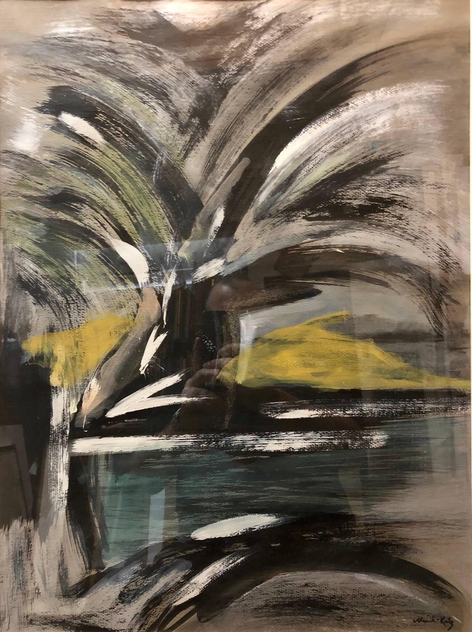 Mane Katz Abstract Landscape With Palm Tree Judaica
