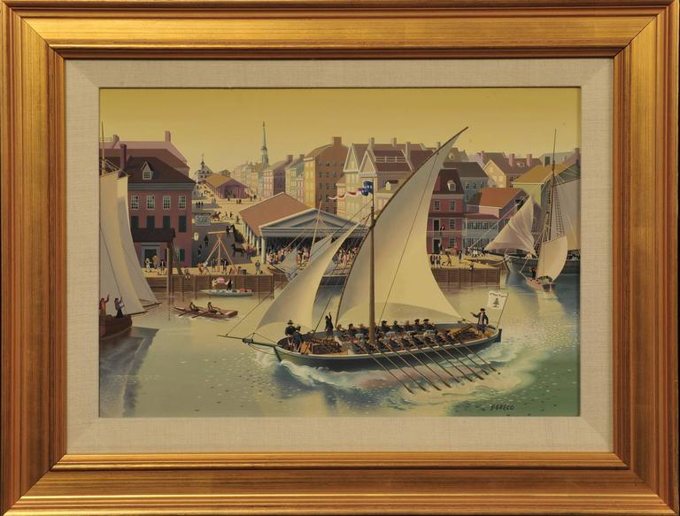 Simon Greco Harbor Scene Painting For Sale At 1stdibs