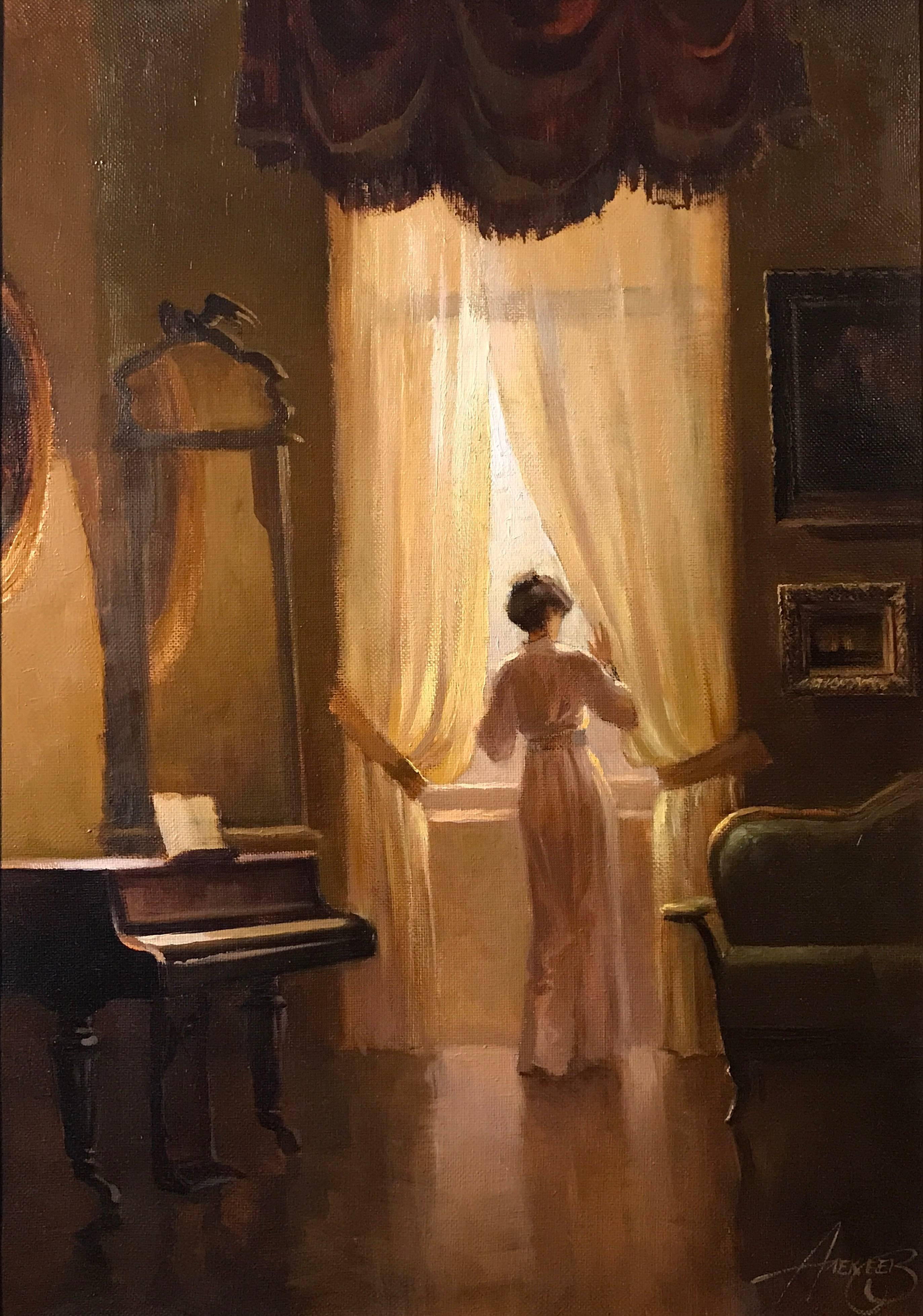 Unknown  Signed Russian Oil Painting Lady in Music Drawing Room Painting at 1stdibs