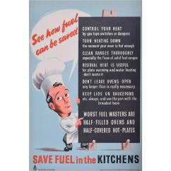 Vintage Posters For Kitchen Granite Anonymous Unknown Save Fuel In The Kitchens Original Poster