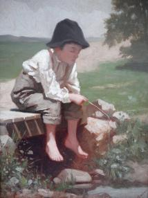 Little Boy Fishing Painting