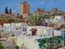 Eliot Clark - Rooftops Rabat Morocco Painting