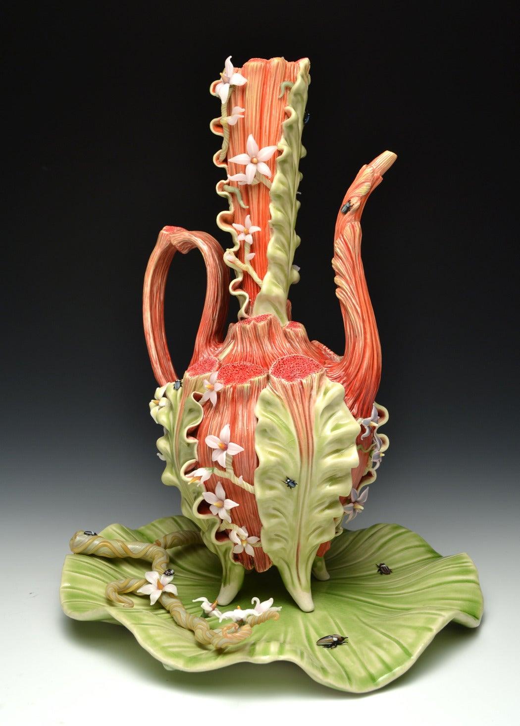"""Bonnie Seeman """"Fancy Spout Teapot With Tray"""" Surrealist"""