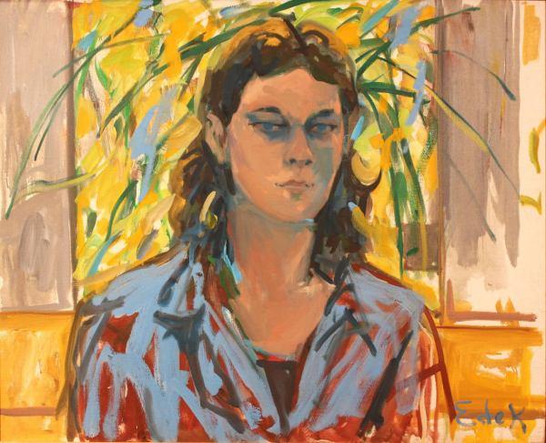 Elaine De Kooning - Portrait Of Young Man Painting 1stdibs
