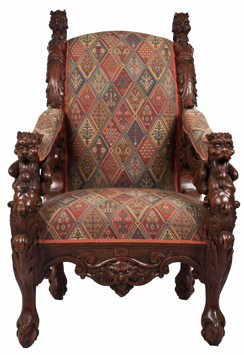 throne chair for sale office chairs used 19th century german carved mahogany
