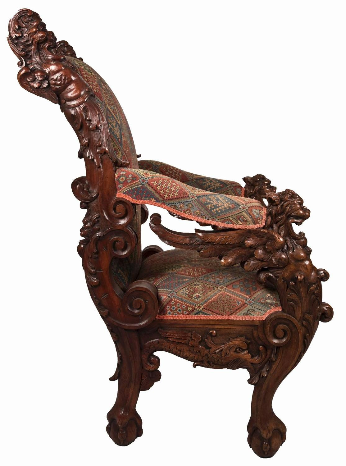 throne chair for sale easy lift 19th century german carved mahogany