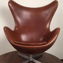 Jacobsen Egg Chair Leather Hanging Tree Early Arne In Original Brown By
