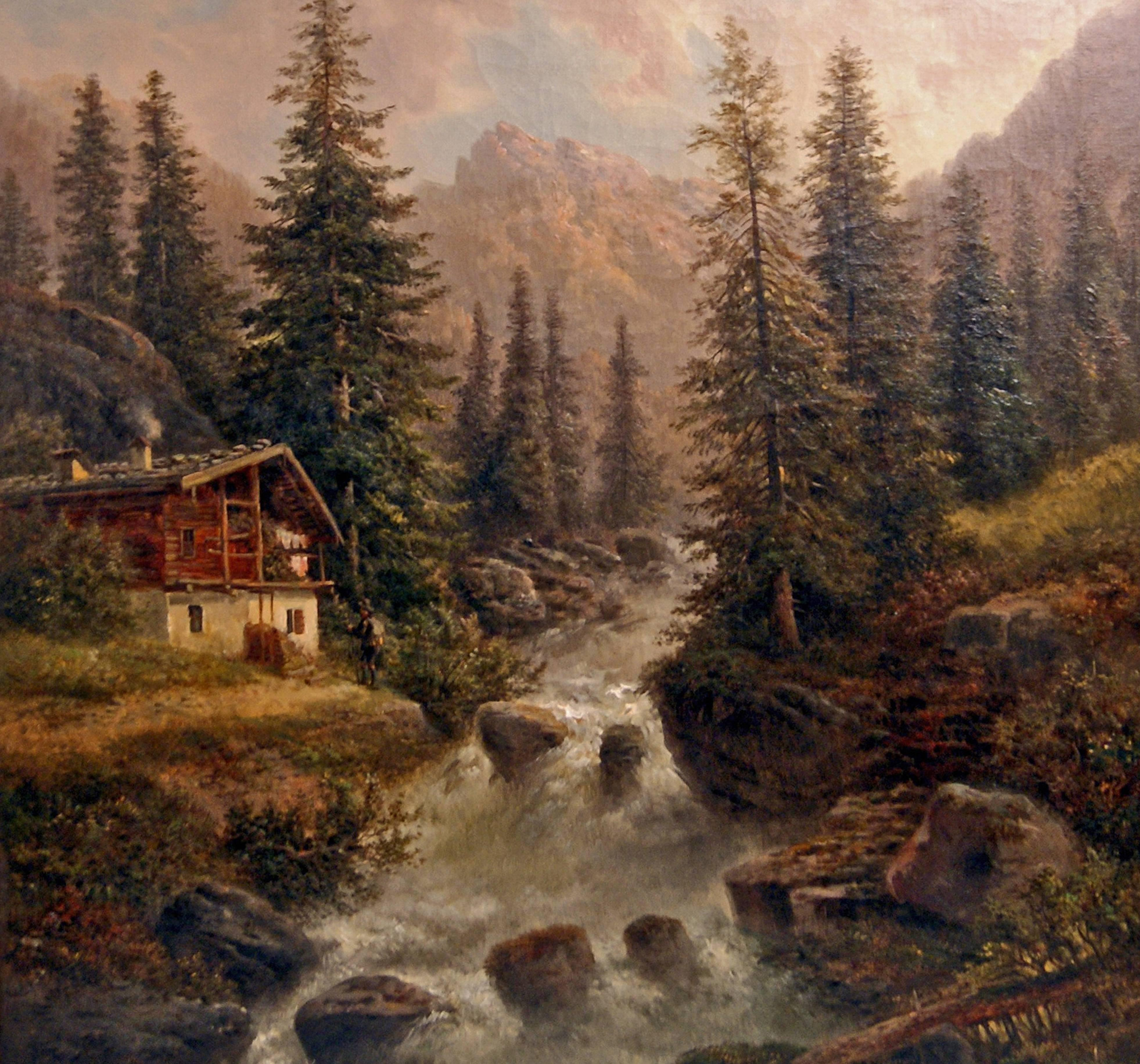 Painting Oil On Canvas Landscape High Mountains Gustav
