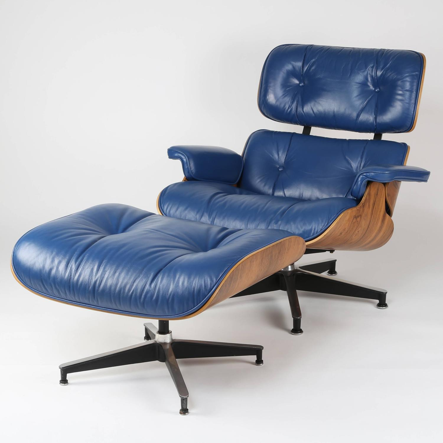 Blue Leather Club Chair Vintage 670 671 Eames Rosewood Lounge Chair And Ottoman In