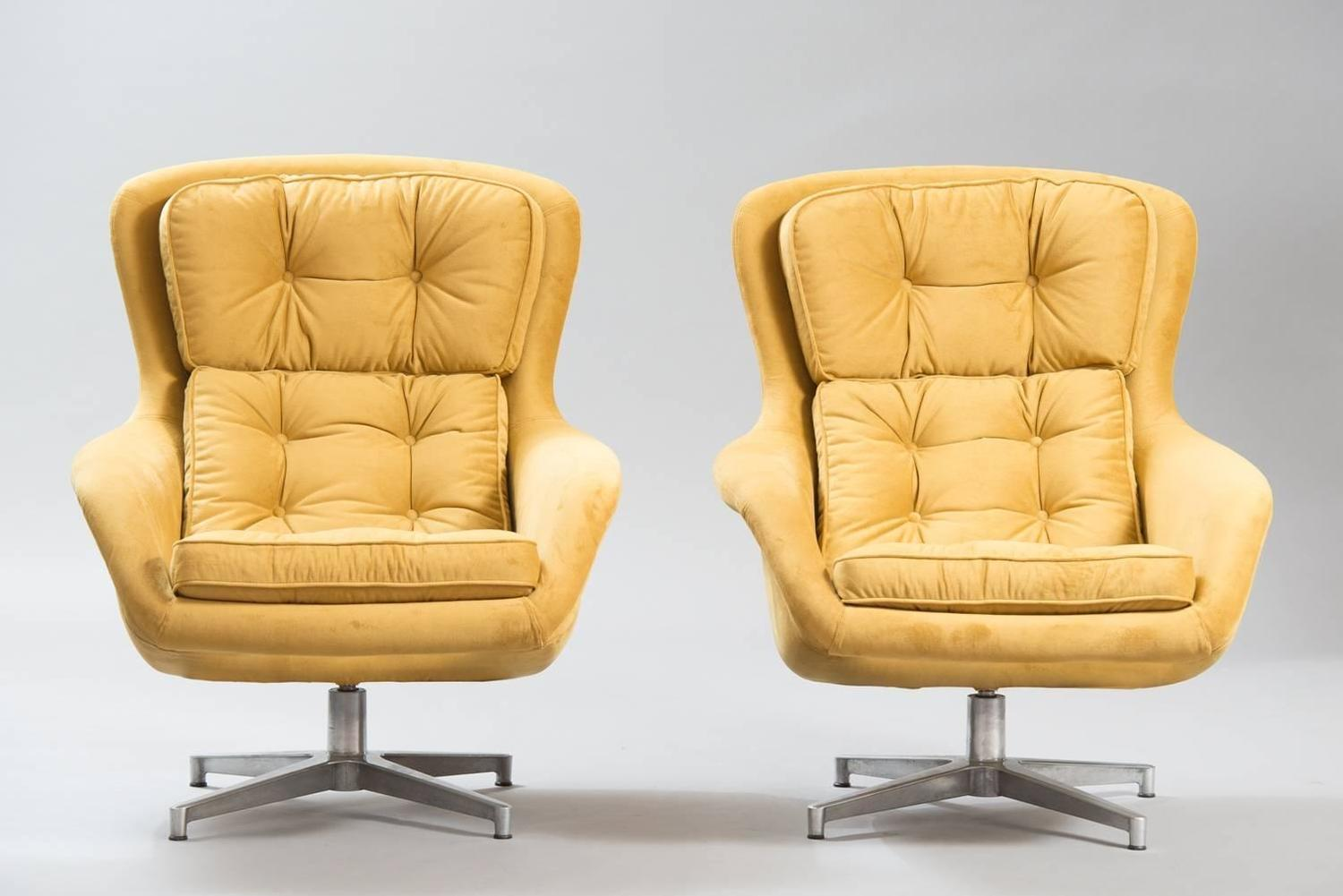 swivel chair mustard yellow bedroom sale alf svensson chairs for dux at 1stdibs