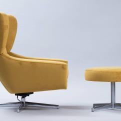 Swivel Chair Em Portugues Party Cover Ideas Danish With Ottoman At 1stdibs