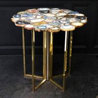 Vintage Agate Top, Brass and Chrome Legs, Side Table For ...