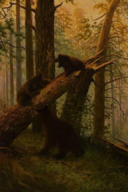 Unknown Russian Painter Playful Bear Cubs In The Forest Oil On Canvas For Sale At 1stdibs