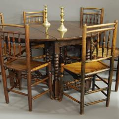Gateleg Table With Chairs Light Grey Accent Chair Large 17th Century Oak Bobbin Turned