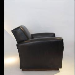 Art Deco Style Club Chairs Lc1 Sling Chair Pair Of Black Leather At 1stdibs