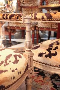 Pair of Louis XVI Painted Armchairs with Tiger Silk Velvet