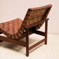 Woven Lounge Chair On Wheels 1950s In Saddle Leather And Cuban