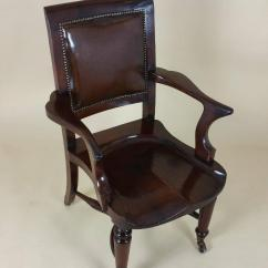 Z Shaped High Chair Customized Director Victorian Mahogany Solid Seat Desk With Leather Back