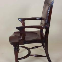 Z Shaped High Chair Vision Fishing Victorian Mahogany Solid Seat Desk With Leather Back