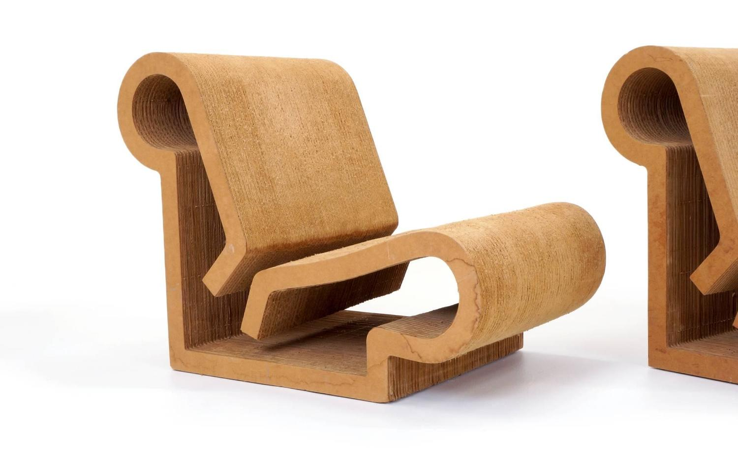 frank gehry cardboard chair floral fabric chairs rare original easy edges contour