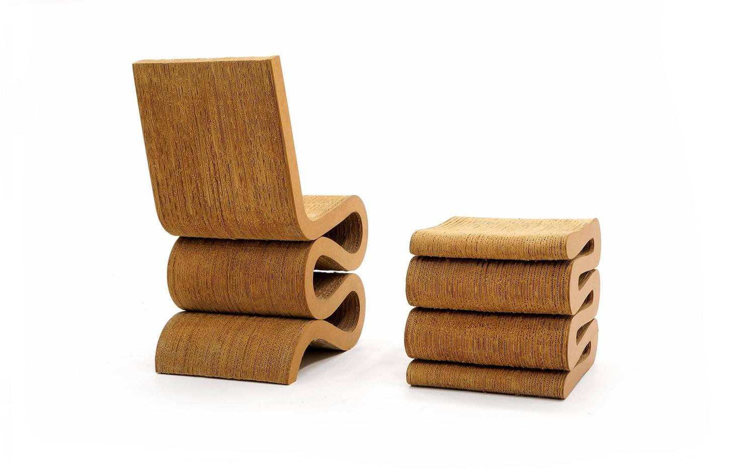 frank gehry cardboard chair padded shower with armrests original 1972 wiggle and