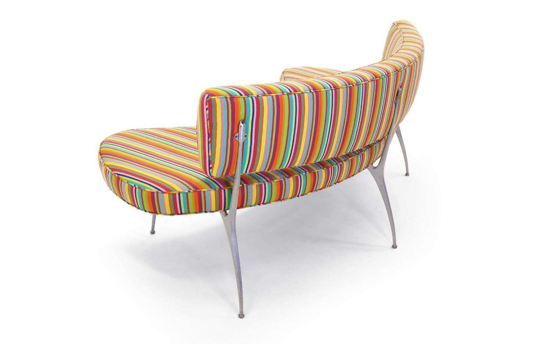 Custom Built Curved Sofa  Bench with Impala Chair Legs