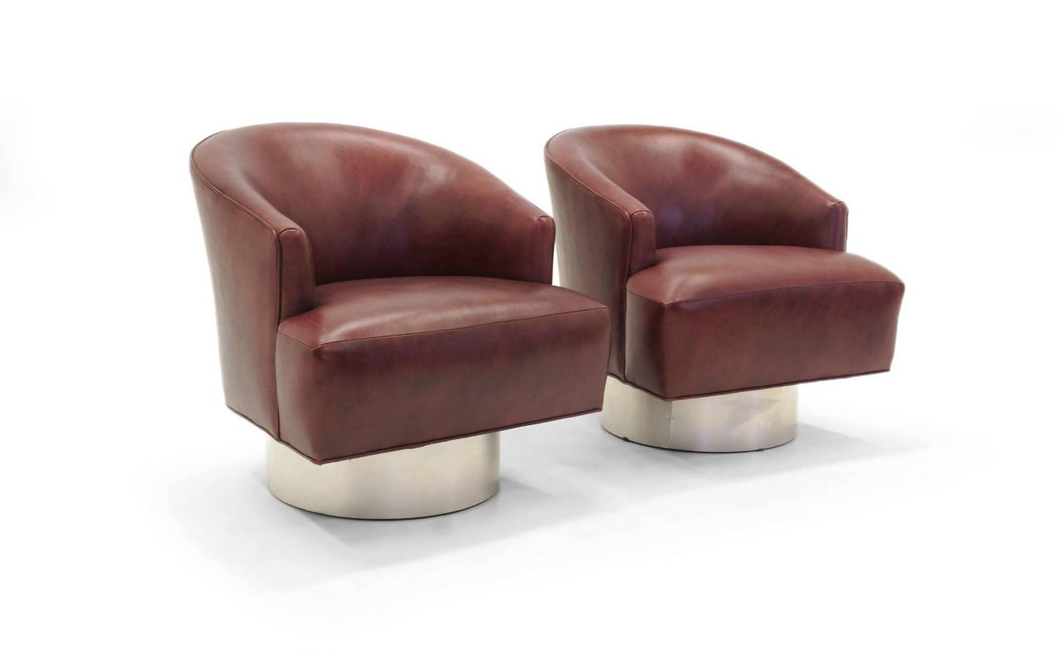 leather swivel barrel chair louis dining canada pair of milo baughman and brushed steel