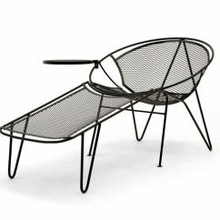 Patio Chairs With Footrests The Original Air Chair John Salterini Chaise Lounge W/ Detachable Footrest And Table Hairpin Legs At 1stdibs