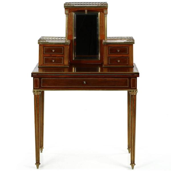 French Louis Xvi Style Brass Inlaid Mahogany Antique