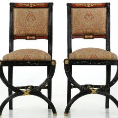 Black And White Paisley Chair Swivel Base Uk Pair Of Napoleon Iii Ebonized Antique Side Chairs With