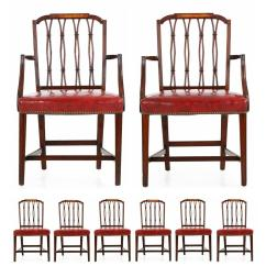 Federal Dining Chairs Slipcovered Living Room Set Of Eight American Style Mahogany And Birch