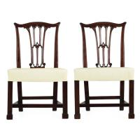 Pair of English Chippendale Mahogany Side Chairs in Gothic