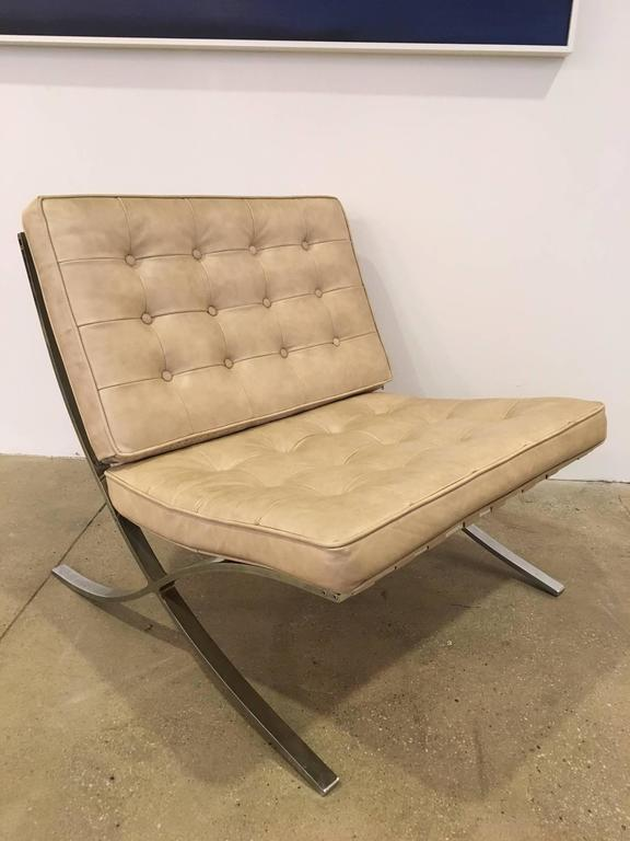 barcelona chair leather ivory covers canada pair of vintage chairs mies van der rohe for sale at 1stdibs a
