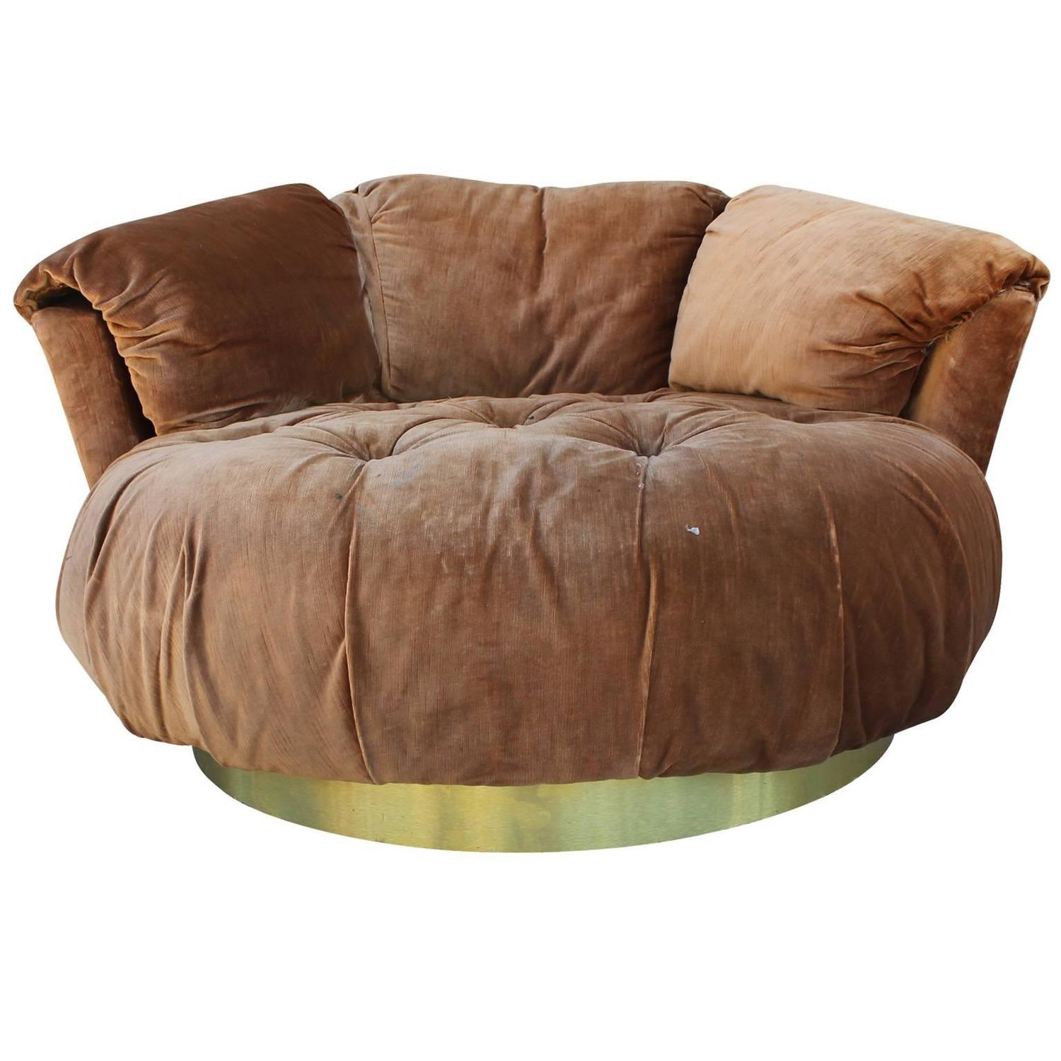 round base chair wheelchair van service plush tufted circle lounge with brass at 1stdibs