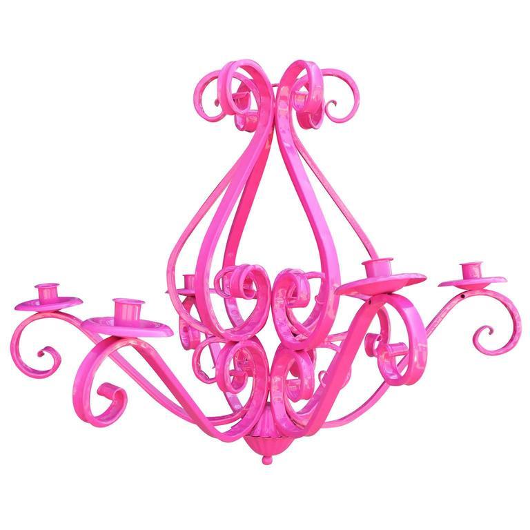 Modern Hot Pink Cast Iron Six Arm Chandelier Light Fixture