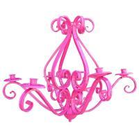 Modern Hot Pink Cast Iron Six Arm Chandelier Light Fixture ...