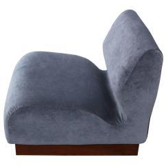 Grey Velvet Slipper Chair Ergonomic Uplift Organic Pair Of Chairs In At 1stdibs