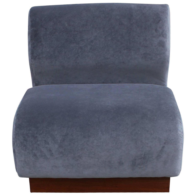 grey velvet slipper chair oak arrowback dining chairs organic pair of in at 1stdibs