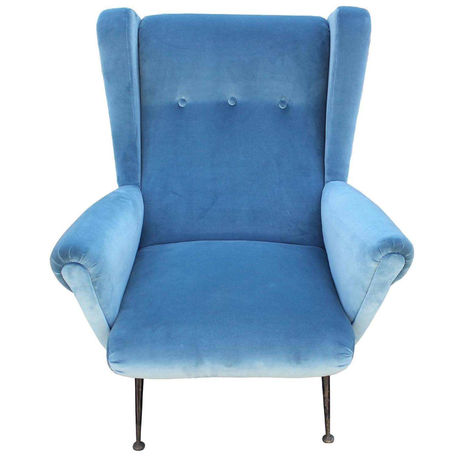 Blue Velvet Wingback Chair Fabulous Pair Of Italian Wingback Lounge Chairs In Blue