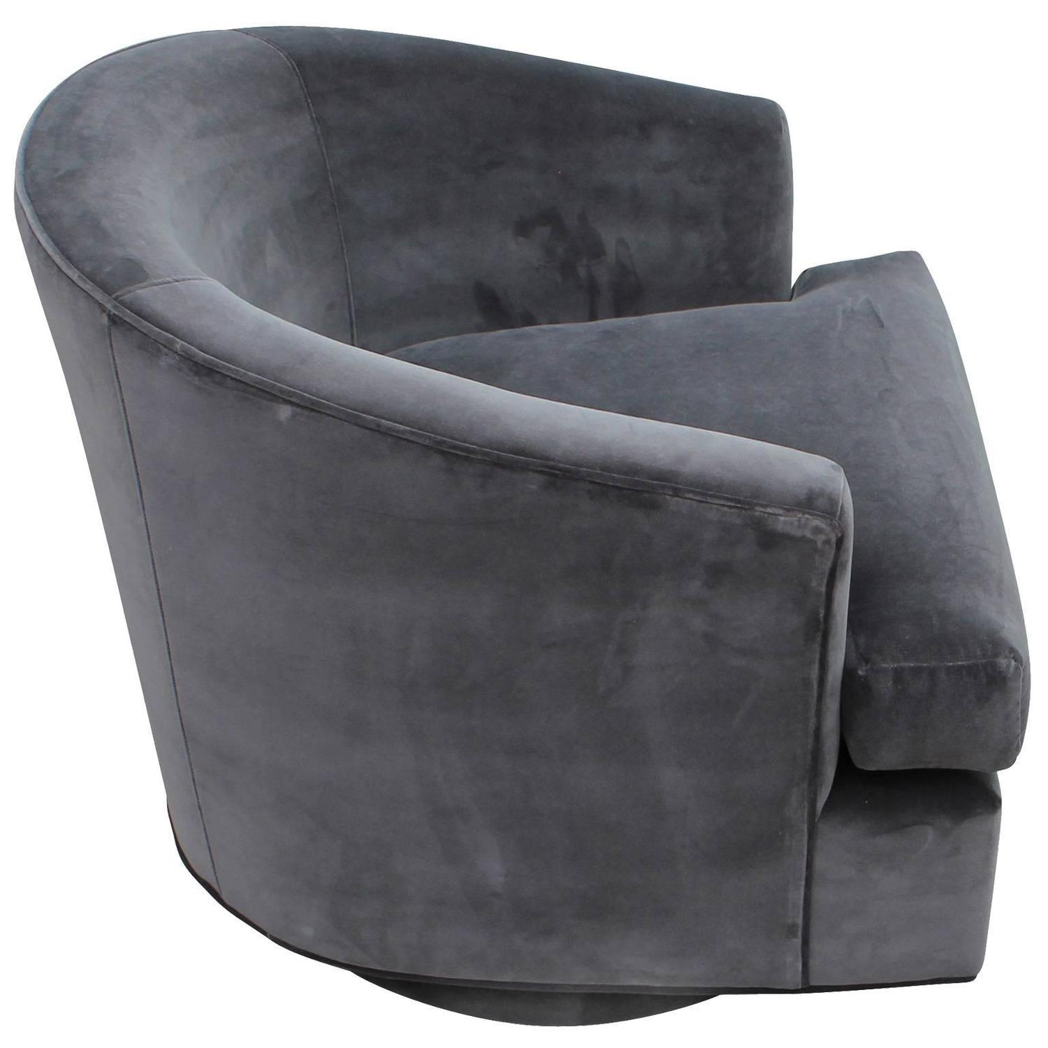barrel swivel chairs upholstered plastic outside fabulous pair of fully back grey
