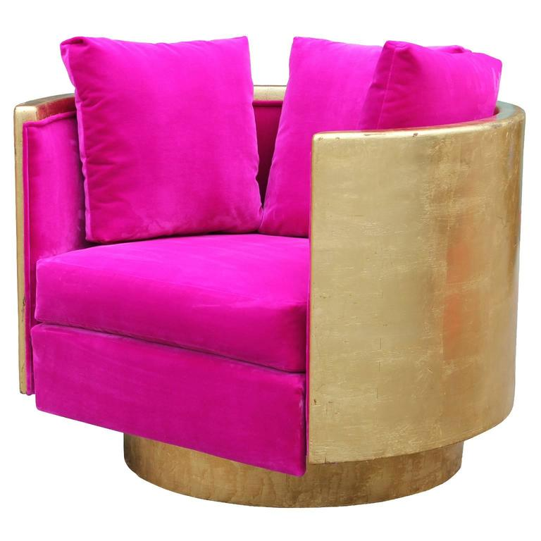 pink swivel chair unique camping chairs ultra glam modern gold leaf and hot velvet lounge for sale