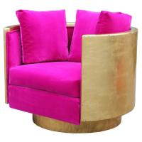 Ultra Glam Modern Gold Leaf and Hot Pink Velvet Swivel