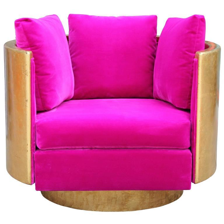 Ultra Glam Modern Gold Leaf and Hot Pink Velvet Swivel