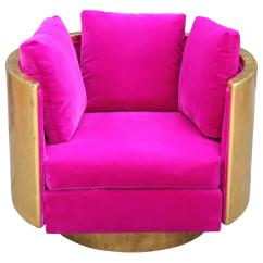 Pink Club Chair Black Dining Chairs Nz Ultra Glam Gold Leaf And Hot Velvet Swivel Lounge