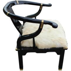 Black Barrel Chair 24 Hour Chairs Striking Lacquer Brass And Fur Back Lounge