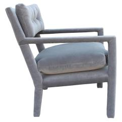 Grey Parsons Chair What Is A Chairperson Fabulous Pair Of Milo Baughman Style Velvet