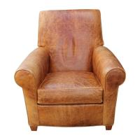 Modern French Art Deco Style Light Brown Leather Lounge ...